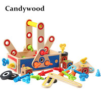 Candywood DIY Wooden Nut Combination Puzzles Toys Combine Tools Nuts Sets Early Learning Educational toys for Children boy