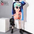 2016 Plus Size Women Summer Long Tops T-Shirt Long O-Neck Sleeves Cartoon Hot Girl Print Hipster Blouson Tee Shirt Femme 1553