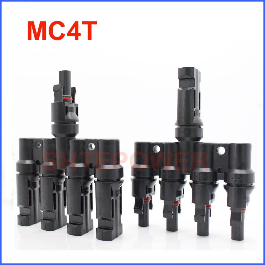 MC4 4 т разъем мужчина и женщина, 4 до 1 т филиал Панели солнечные Разъем 50 пар/20 пар системы солнечной энергии
