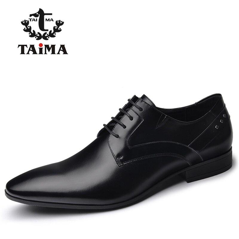 De Calidad superior Genuino Cuero de Los Hombres Visten Zapatos de Negocios de M