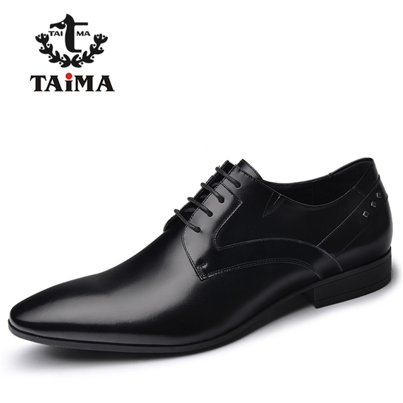 Top Quality Genuine Leather Men Dress Shoes Fashion Business Casual Shoes For Men Oxfords Classical Black BRAND TAIMA 40-45 top quality genuine real grain leather boots qshoes mens brand design business dress casual men personalized boot ym08 01