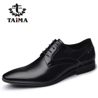 Top Quality Genuine Leather Men Dress Shoes Fashion Business Casual Shoes For Men Oxfords Classical Black BRAND TAIMA 40-45