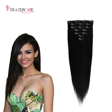 Full Head Brazilian Virgin Hair Clip in Hair Extensions Brazilian Clip In Human Hair  Extensions African American Clip in Hair