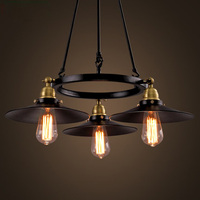 Loft Vintage Lamp Wrought Iron Industrial Style Pendant Lighting Creative Saucer Edison Bulb Light Fixture Bar