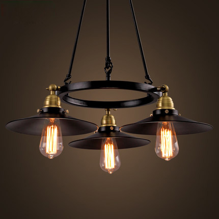 Loft Vintage Lamp Wrought Iron Industrial Style Pendant Lighting Creative Saucer Edison Bulb Light Fixture Bar Art Deco Lighting loft antique retro spider chandelier art black diy e27 vintage adjustable edison bulb pendant lamp haning fixture lighting