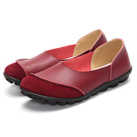 Genuine Leather Women Flats Shallow Slip On Loafers Female Ballet Shoes Ladies Footwear Moccasins Women Casual