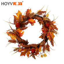 HOYVJOY New Arrival Autumn Maple leaf Wheat Acorn Wreath 50cm Halloween Thanksgiving Decorations Spring Home garland Decoration