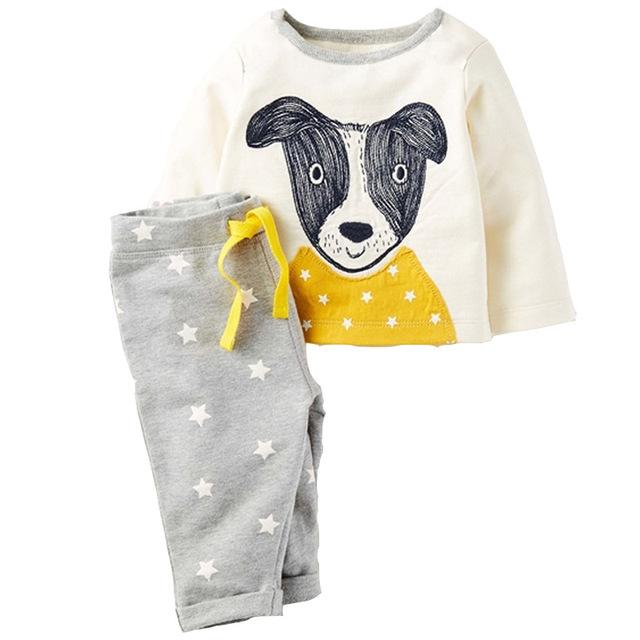 2 pcs primavera outono roupa do bebê set meninos dos desenhos animados cão conjuntos de roupas bodysuit infantil roupa da criança sleepwear suit2-7Tcostume