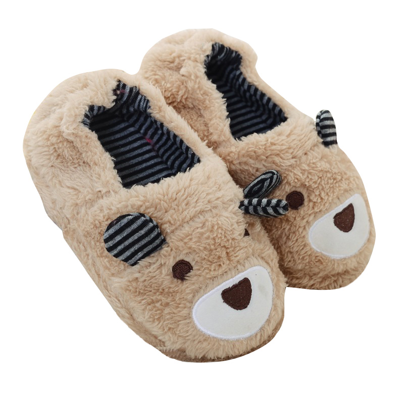 Cute Cotton Slippers Kid's Winter Home House Shoes Plush Bear Wrapped Roots Warm Cotton Slippers 1-5Ynew 2019