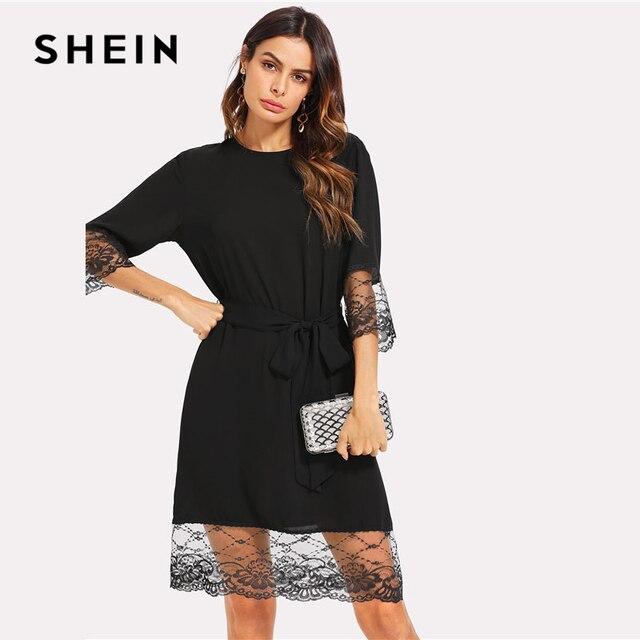 613d0857d8a8 SHEIN Black Lace Cuff And Hem Belted Plain Dress Women Round Neck 3/4  Sleeve Knee Length Dress 2018 Elegant Loose Dress