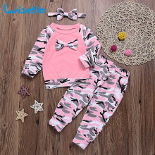 Wisefin Baby Girls Clothing Set Big Bow Camo Print For Infant Girl 3 Piece Long Sleeve Patchwork Newborn Outfits