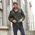 Весна осень мужские пальто Хлопка случайные бренд одежды военный бомбардировщик куртка мужчины стиль Solid jaqueta masculina Большой размер