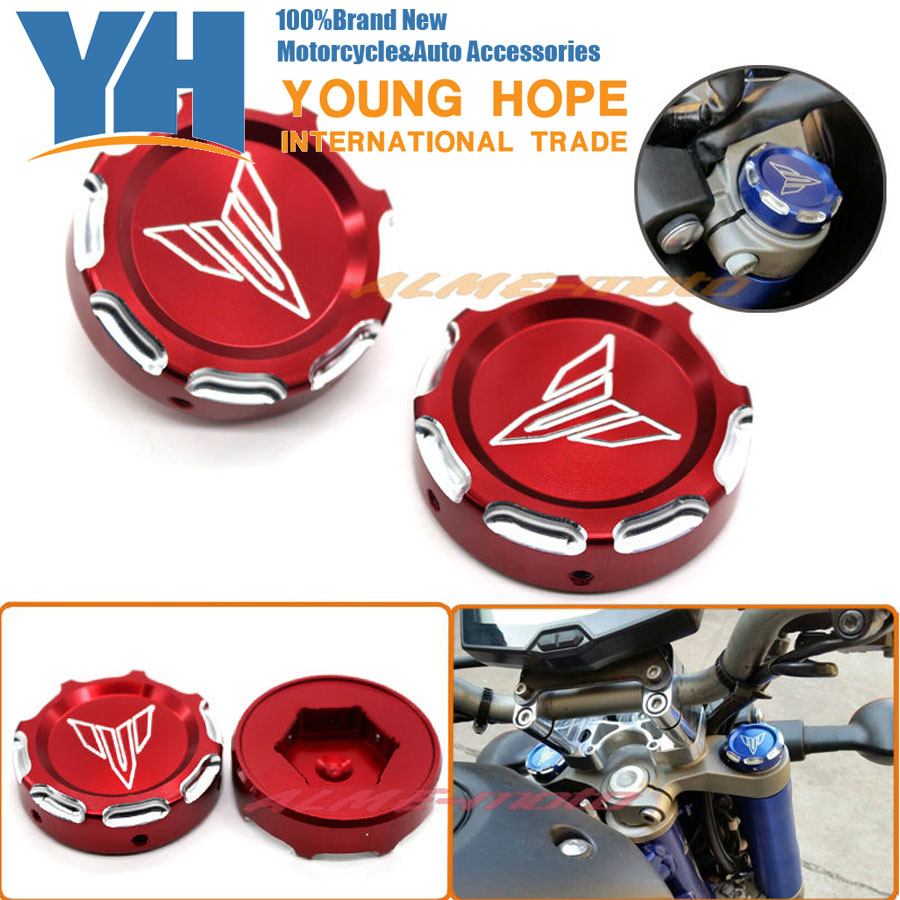 Подробнее о Motorcycle CNC Billet Aluminum Front Fork Cover Caps For YAMAHA MT07 FZ07 MT-07 FZ-07 2014-2015 Red Free Shipping for yamaha mt07 fz07 mt 07 fz 07 2014 2015 motorcycle cnc billet aluminum front fork cover caps free shipping