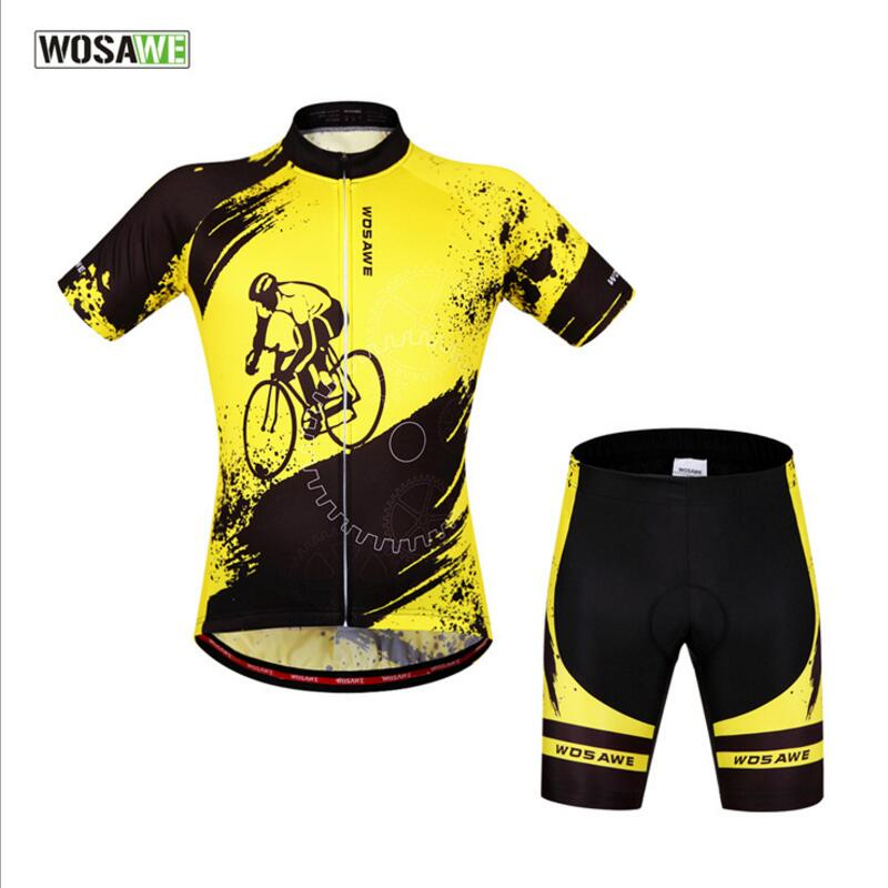 WOLFBIKE Summer Mens Cycling Clothings Bike Jerseys Sets Short Team Cycling Wear Breathable Anti-Sweat Bike Equipment Yellow