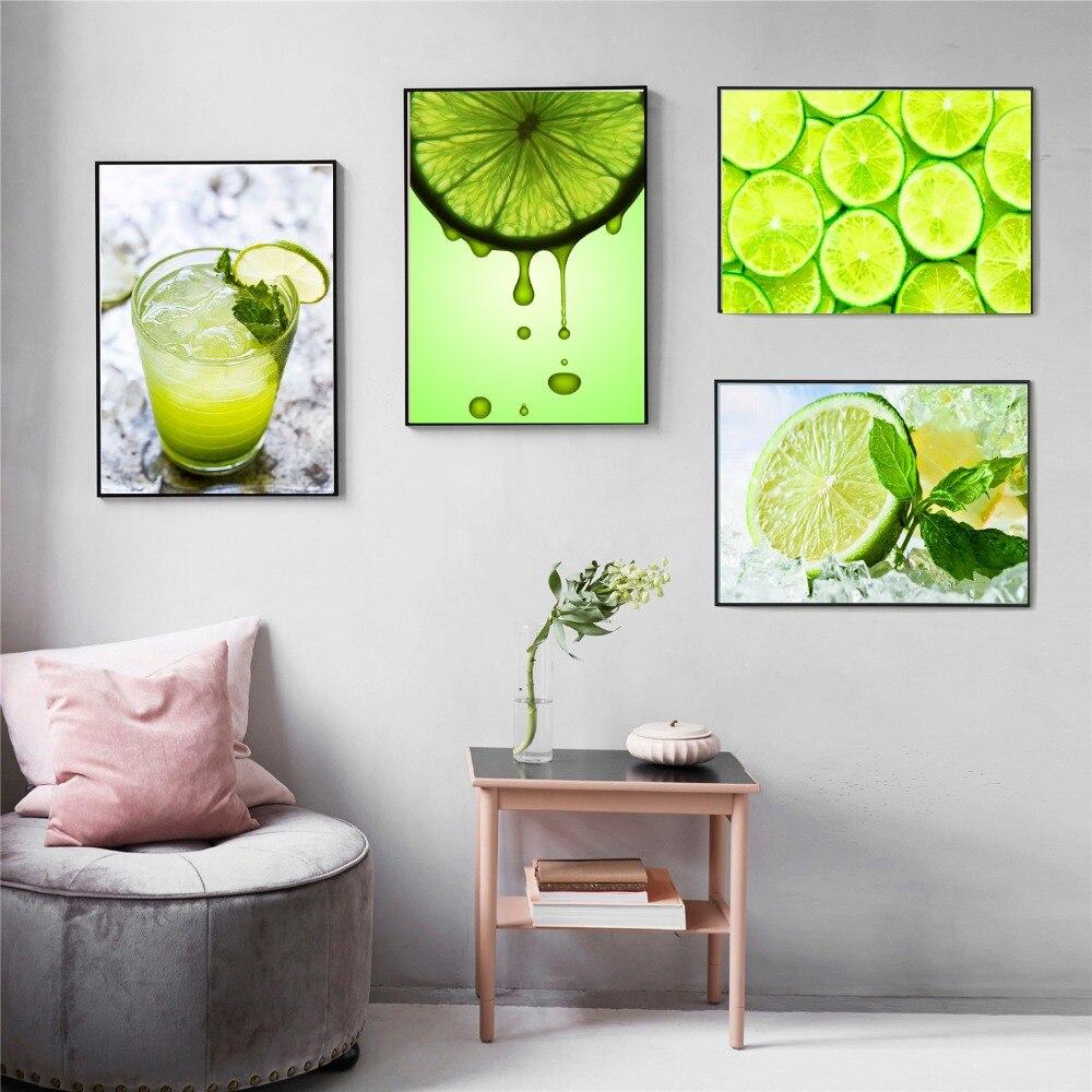 Зеленый лимон Современная живопись холст Плакаты и принты для Гостиная не оформлена стены Книги по искусству изображение домашнего декора ...