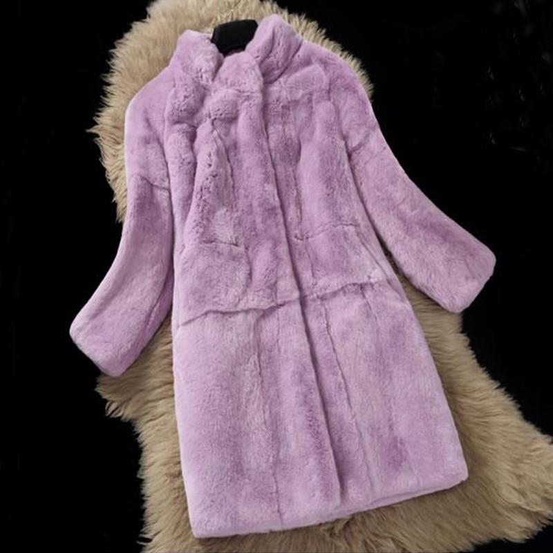 Натурального меха кролика Rex плюс Размеры Для женщин натуральным мехом пальто Классические женские зимнее платье ksr469