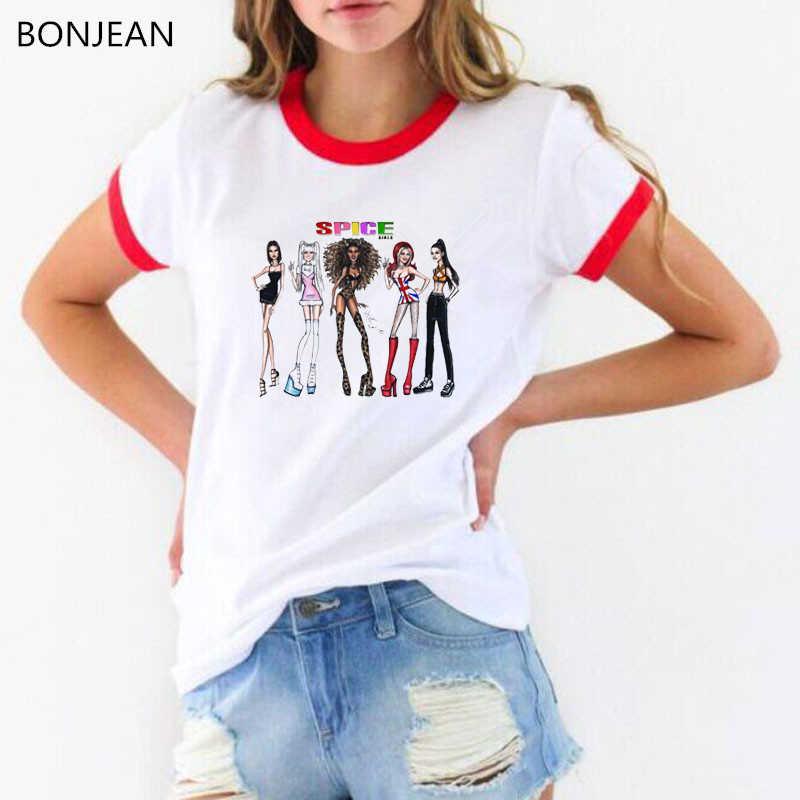 Spice girls letters printed tshirt women vogue t shirt femme harajuku graphic t shirts top female white t-shirt summer clothing