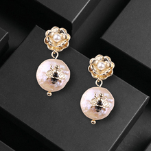 CocoANGEL Natural Fresh Water Pearl Copper & Electroplating Sterling Drop Earring Bee Flora Design Fashion For Women