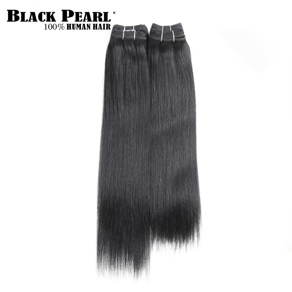 Black Pearl Pre-Colored Yaki Human Hair 4 Bundles One Pack 190 Gram Brazilian Straight Hair Weave Bundles Color 1# Free Ship