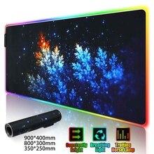 Игровой коврик для мыши светодиодный RGB большой геймерский коврик для мыши USB светодиодный подсветка Радужный компьютерный коврик резиновая клавиатура Настольный коврик