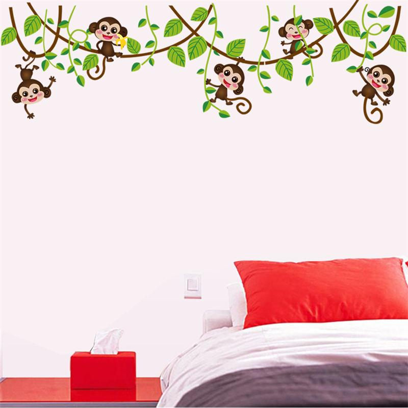 Jungle Monkey Tree Branch Wall Stickers For Kids Room Home - Wall decals kids roomcartoon monkey climbing flower vine wall decals kids room nursery