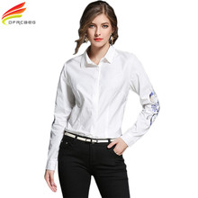 Autumn Elegant Shirt Women Tops Long Sleeve Turn-down Collar Ladies Office Shirts Embroidery Floral Blouses Cotton White Blusas