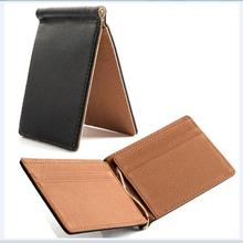 Men Money Clip Short Wallets Male PU Leather Clamp Dollar Cash Money Holder 2 Folds Open Clamp Clip For Cash Credit Card Wallets