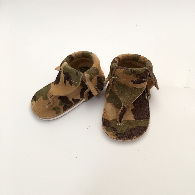 Handmade Camouflage First Walkers Genuine Leather Infant Shoe