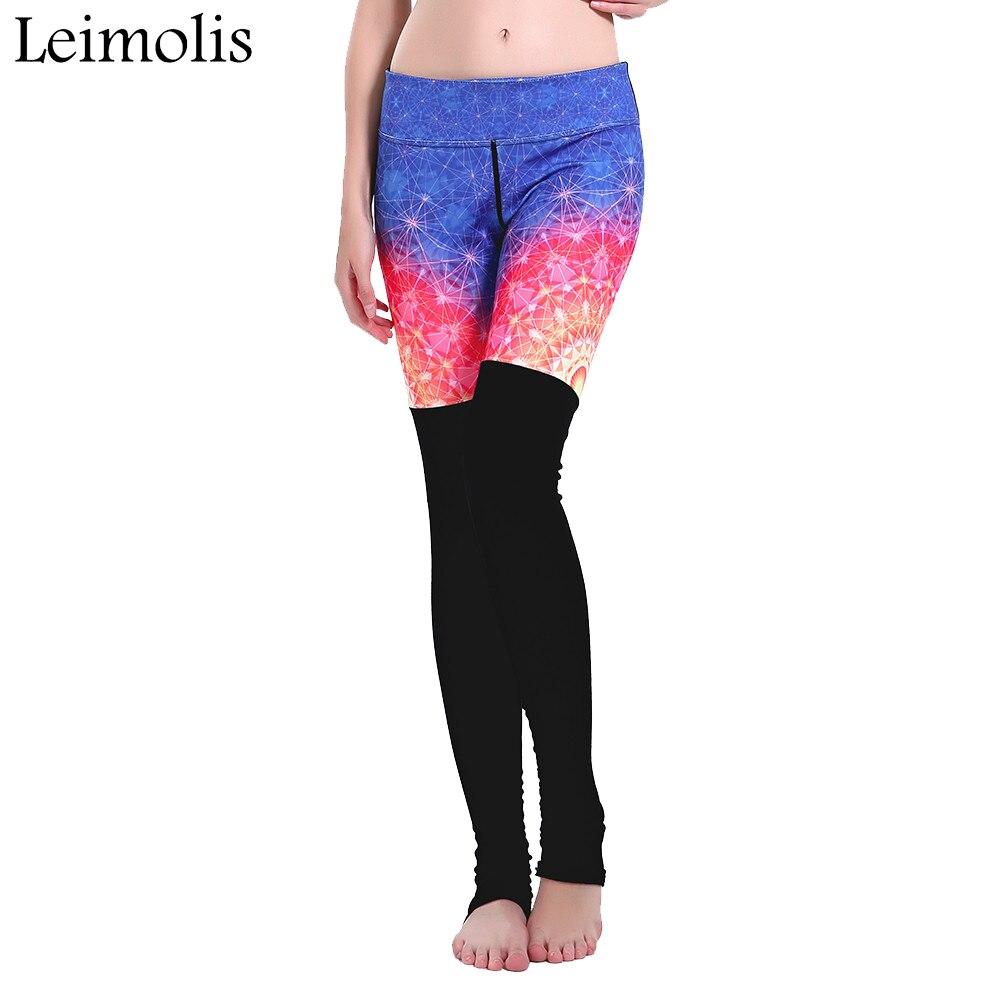Leimolis Объёмный рисунок (3D-принт) метеорный поток Лоскутные зимние Harajuku Высокая Талия тренировки пуш-ап Большие размеры леггинсы для фитнеса ...