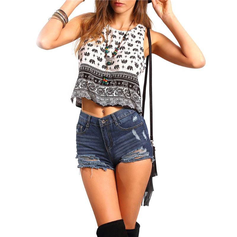 2018 Mode Frauen Sommer Streetwear Elefanten Gedruckt Weste Top Bluse Casual Tank Kurzen Ärmelloses Shirt Stil Tops T-shirt