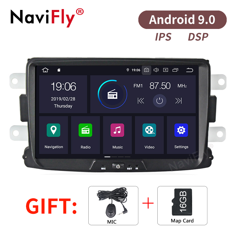 NaviFly Pure Android9.0 IPS Screen DSP Car Audio multimedia player for Renault Dacia Duster Sandero Lodgy Dokker car DVR camera