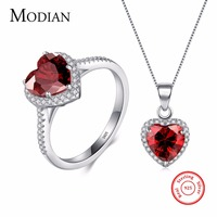 Modian Genuin Solid 925 Sterling Silver Hearts Sets Jewelry Red Ring Necklace Wedding Crystal Pendant Fashion