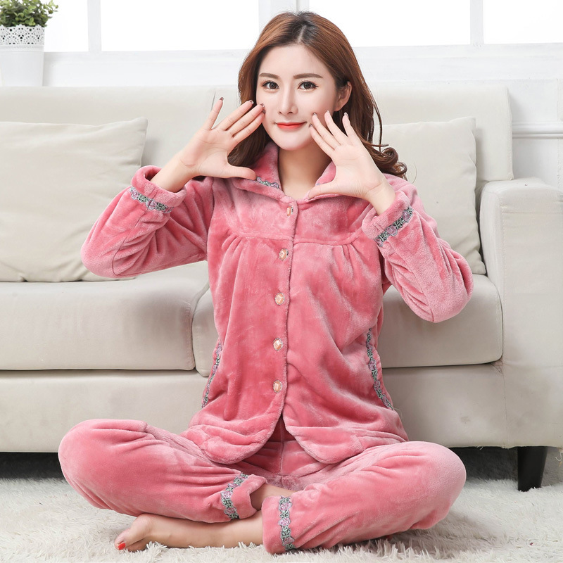 Autumn Winter Female Flannel   Pajamas     Set   Thicken Warm Home Clothes Long Sleeve 2PCS Sleepwear Lounge Nightwear Sleep Suit
