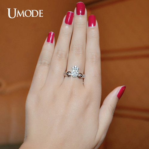 UMODE New Luxury White Gold Color Hand Heart Crown Ring For Women