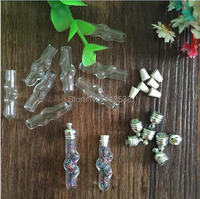 Free ship 100pieces diy Miniature Wishing Bottle Current Bottle Glass Clear Oil Charm Vial Pendant Tube Pendant no filler rice