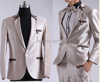 Free shipping mens silver grey tuxedo jacket and pants suits set performance/event suit