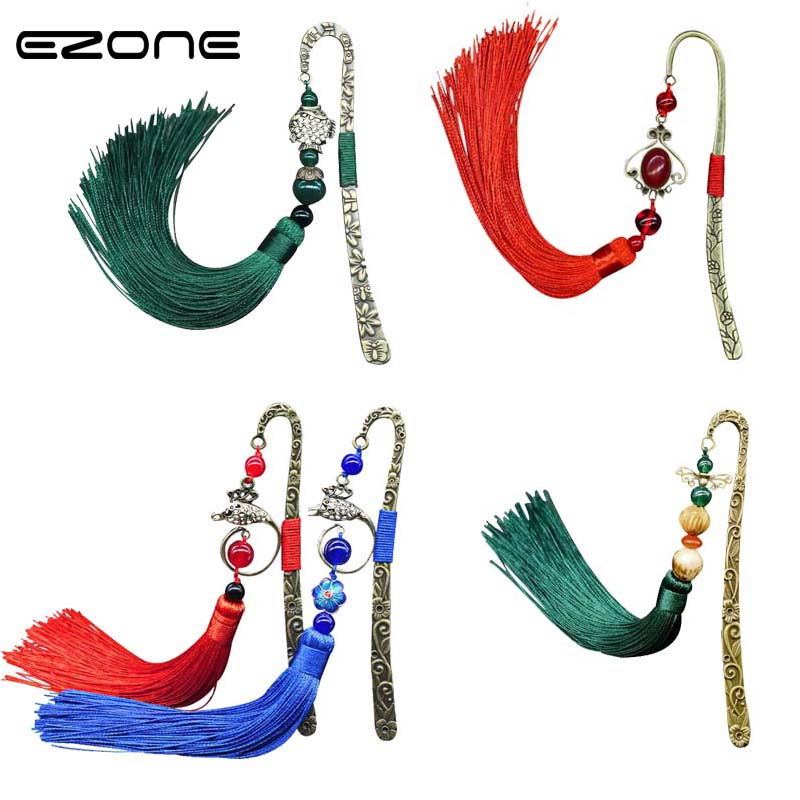 EZONE Chinese Style Metal Hairpin Bookmark With Tassel Creative Vintage Book Holder School Office Supplies Stationery Gift