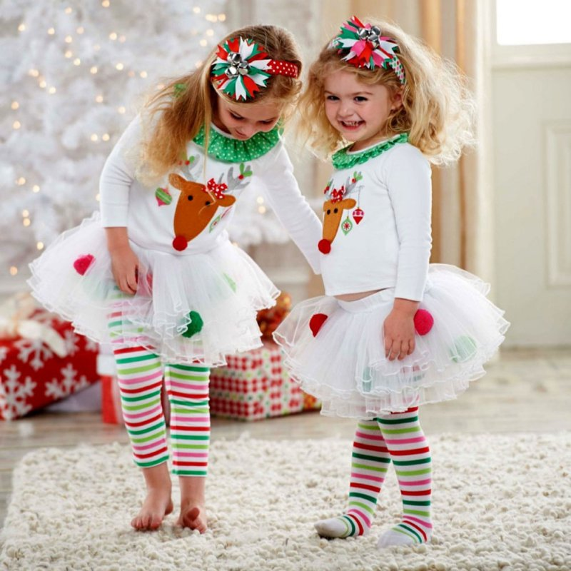 Christmas Toddler Elegant Style Baby Girls Reindeer Top Tutu Tulle Pants Outfit set children New clothing