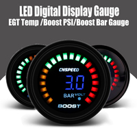 Boost PSI Boost Bar EGT Temp Gauge 2inch 52mm 20 LED Digital Display Car Auto Air/Fuel Ratio Face Monitor Racing Gauge Analog