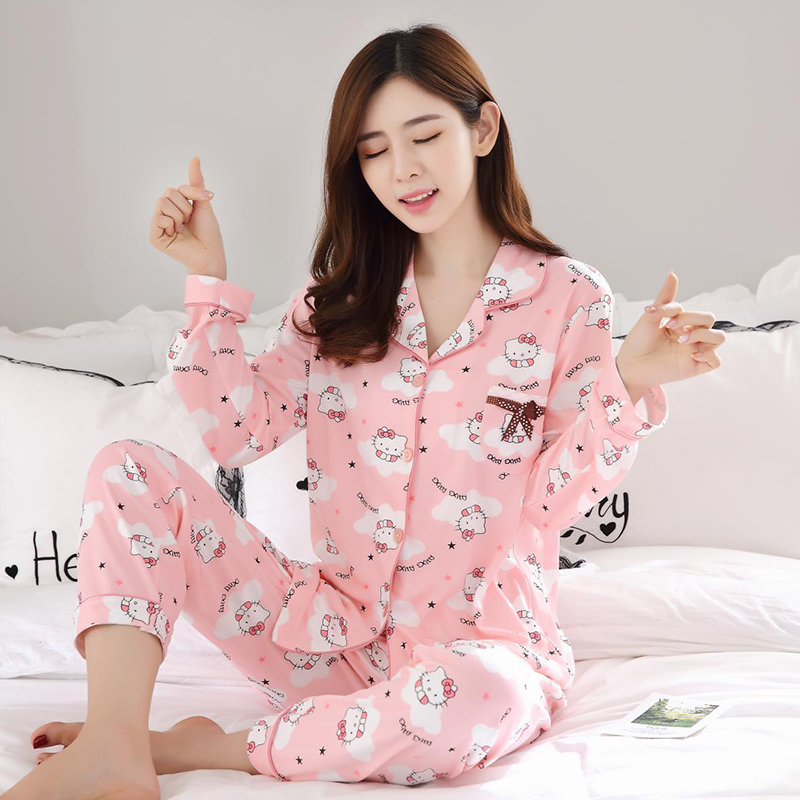 Elegant Luxury Women Comfortable Cotton Pajama Set Girl Print Pyjama Set Long Sleeve Sleepwear Suit Women Nightgown Sets