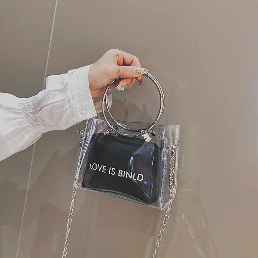 Ladies Bags Trend Transparent Square Shoulder Messenger HandBag woman bag 2019 bolsa masculina sac femme handtassen dames