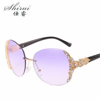 Fashion unique Rimless Crystal decoration sunglasses for women vacation beach sun glasses brand designer oculos de sol Shades