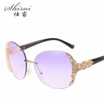 Moda única sem aro de cristal decoração óculos de sol para as mulheres férias praia óculos de sol marca designer óculos sol tons