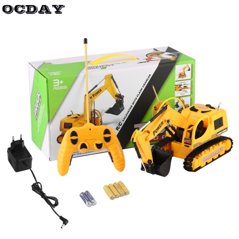 OCDAY RC Excavator Children Toys 5 Channel 1/10 RC Car With Battery Remote Control Model Engineering Vehicle Kids Toy