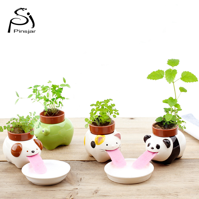 Spedizione gratuita Peropon Bere Animal Planter Cute Animal Tongue vaso di fiori in ceramica Self Watering Critter