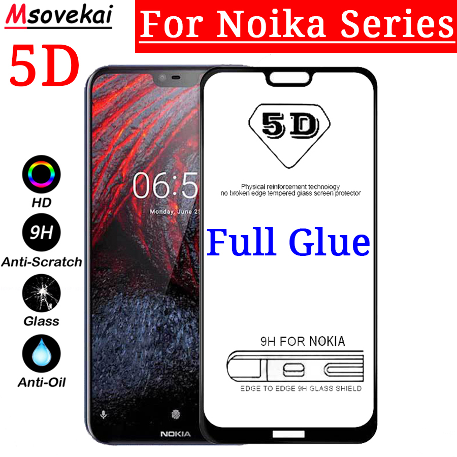 Tempered Glass For Nokia 9 PureView 7.1 6.1 8.1 X7 X6 X5 3.1 5.1 For Nokia 7 Plus 8 3 6 5 2018 5D 9D Full Glue Screen Protector nokia 8 new 2018
