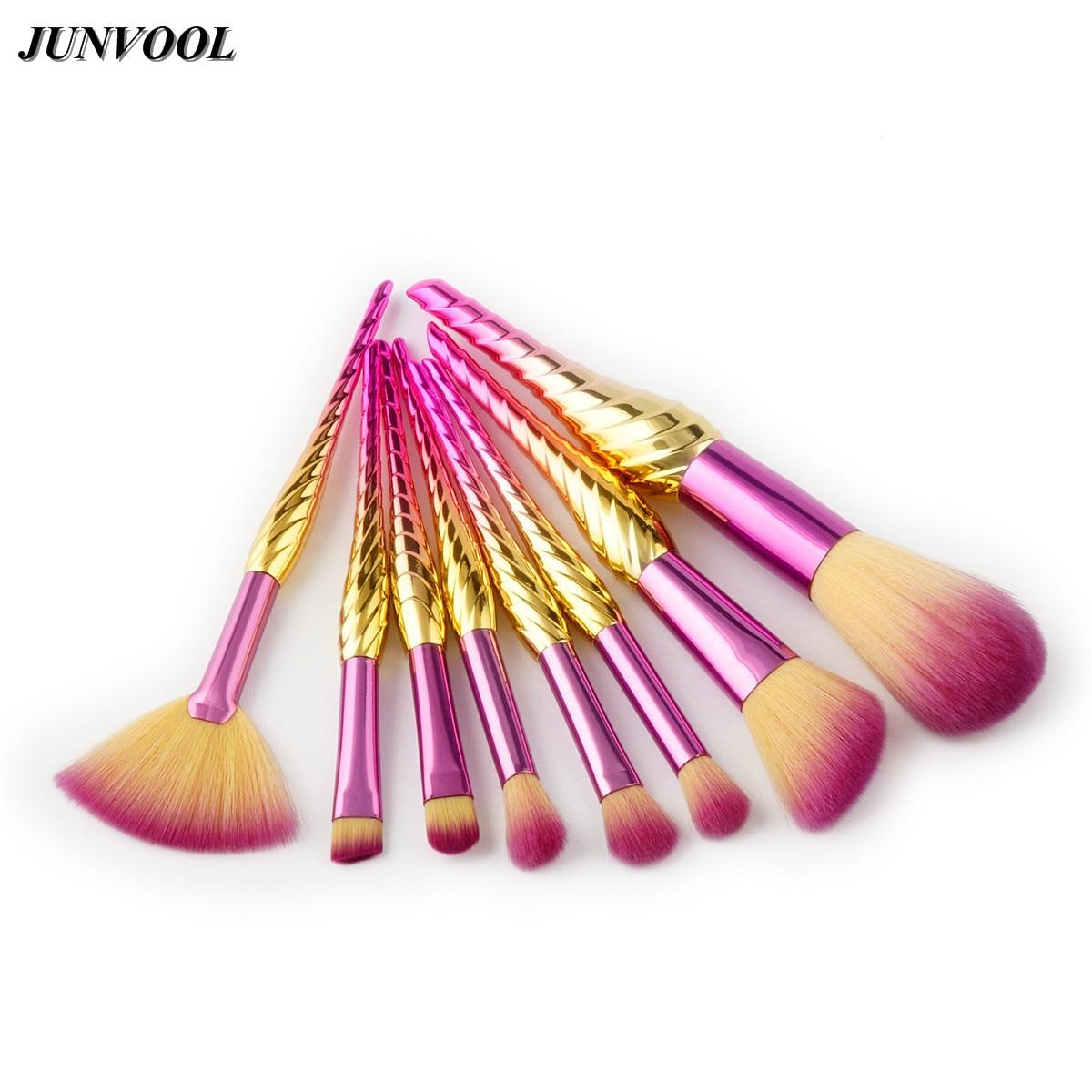 8pcs Conch Fan Makeup Brushes Thread Rainbow Professional Make Up Set Blending Powder Foundation Eyebrow Eye Contour Brush New fan makeup brush set 9pcs rainbow diy