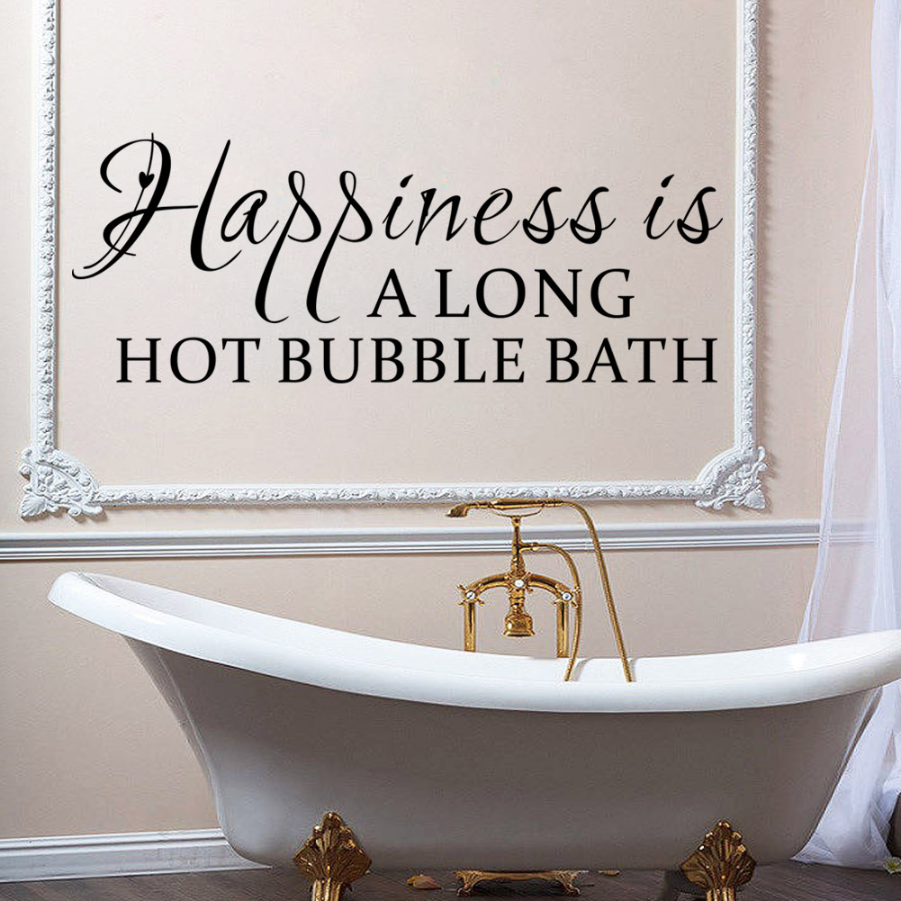 Color art tipografia - Happiness Is Along Hot Bubble Bath Vinyl Stickers For Bathroom Decoration Home Decals Quotes Mural Art