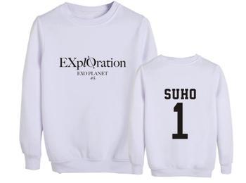 Kpop exo concierto exploración mismo nombre de miembro impresión cuello redondo polar sudaderas unisex Jersey sudadera suelta