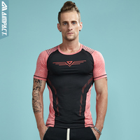 Aimpact New Men Tight Tshirts Fashion Sexy Slim Fit Workout Tees For Men Crossfit Elastic Patchwork
